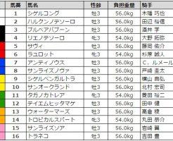 ユニコーンステークス 2017 枠順